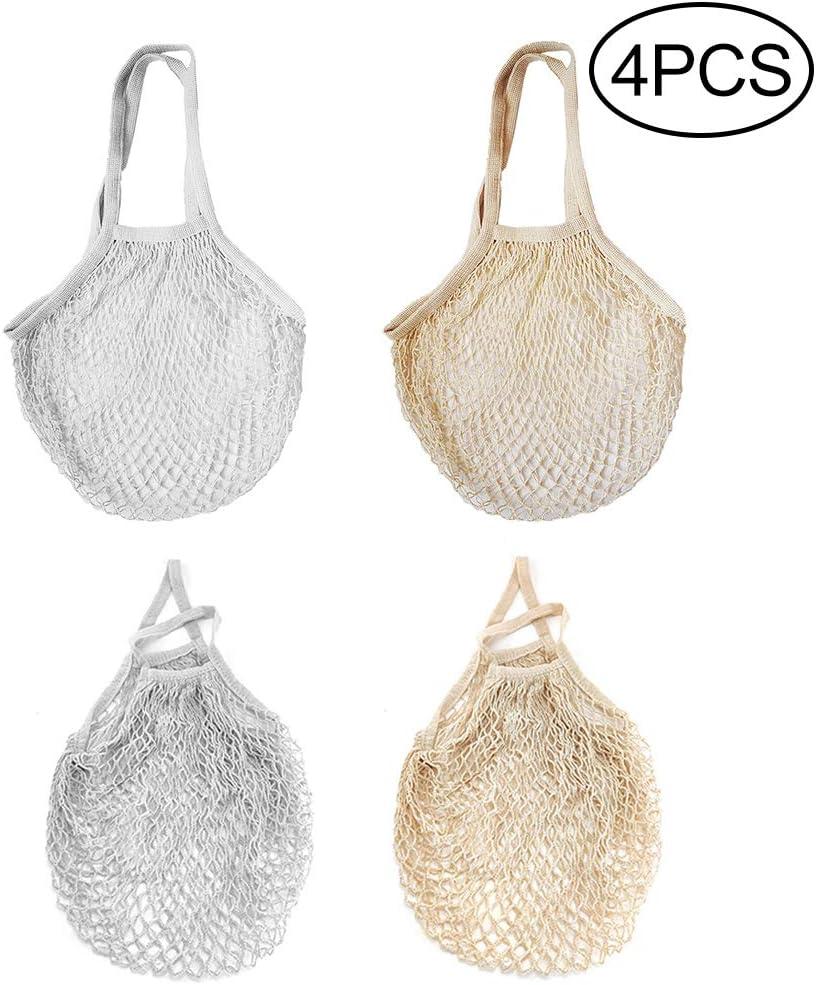 Hileyu - 4 Piezas Bolsa de malla de algodón, reutilizable, bolsa de la compra, bolsa de red, bolsa de red para frutas y verduras, bolsa de la compra