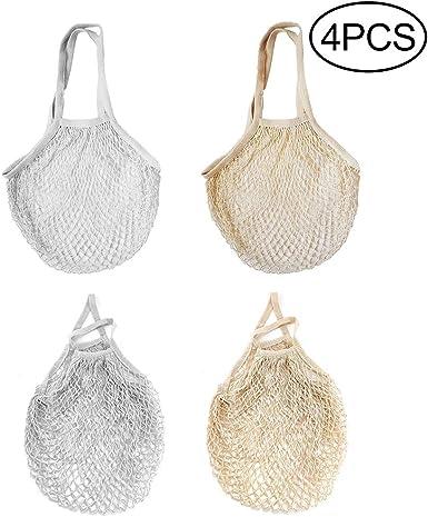 Hileyu - 4 Piezas Bolsa de malla de algodón, reutilizable, bolsa de la compra, bolsa de red, bolsa de red para frutas y verduras, bolsa de la compra: Amazon.es: Ropa y accesorios