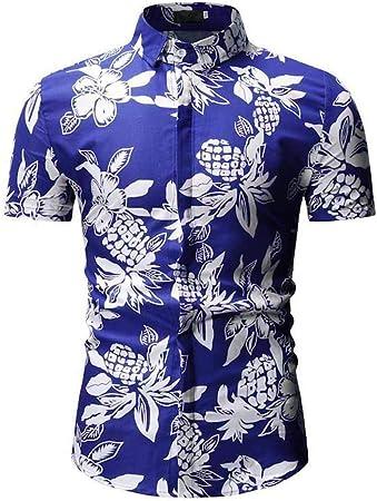 Yishelle Camisa de Hombre Camisa Hawaiana de Manga Corta con Botones de Flores for Hombres Camisa de Vestir Ajustada Camisa Casual (Color : Azul, tamaño : XXXL): Amazon.es: Hogar