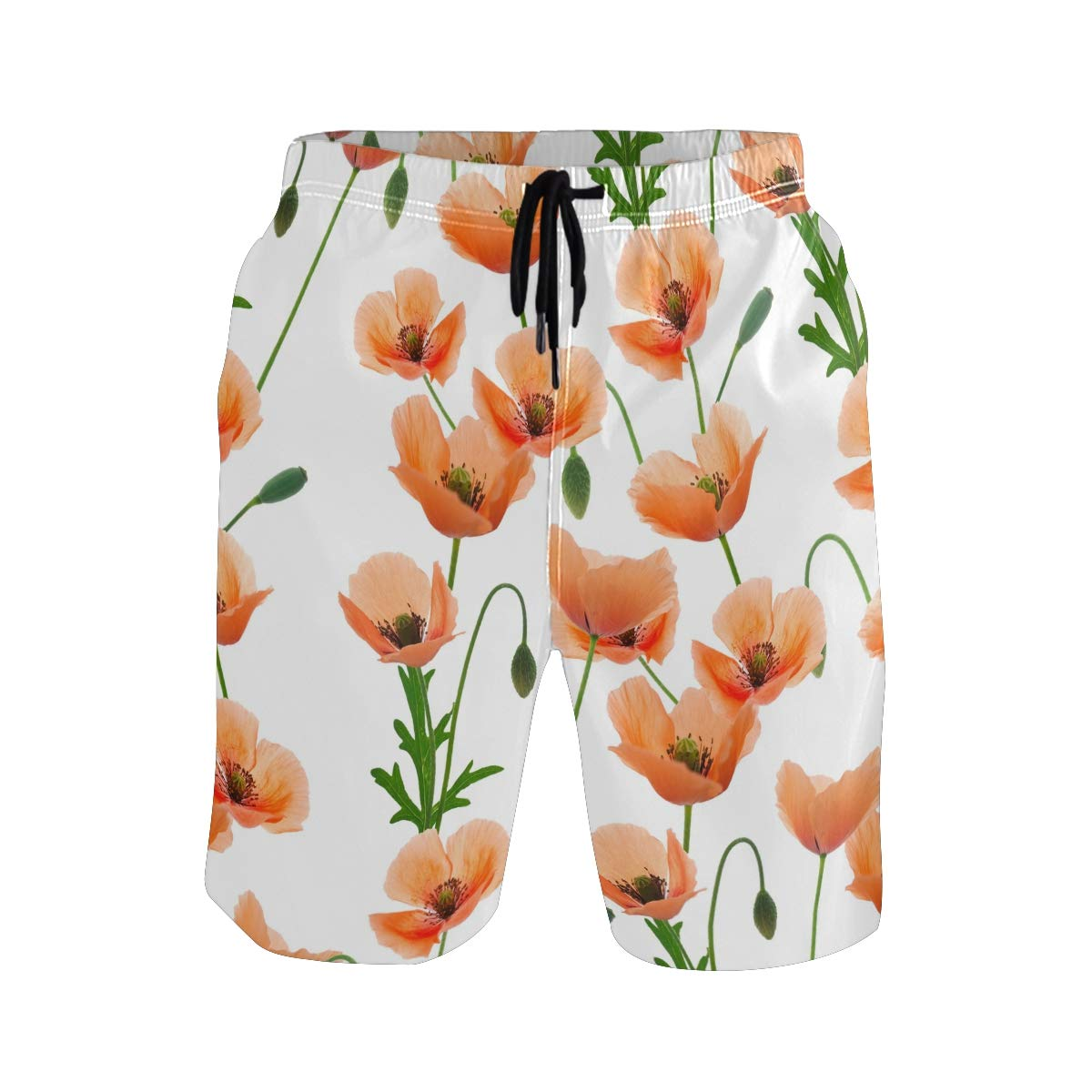 JERECY Mens Swim Trunks Poppy Flower Pattern Quick Dry Board Shorts with Drawstring and Pockets