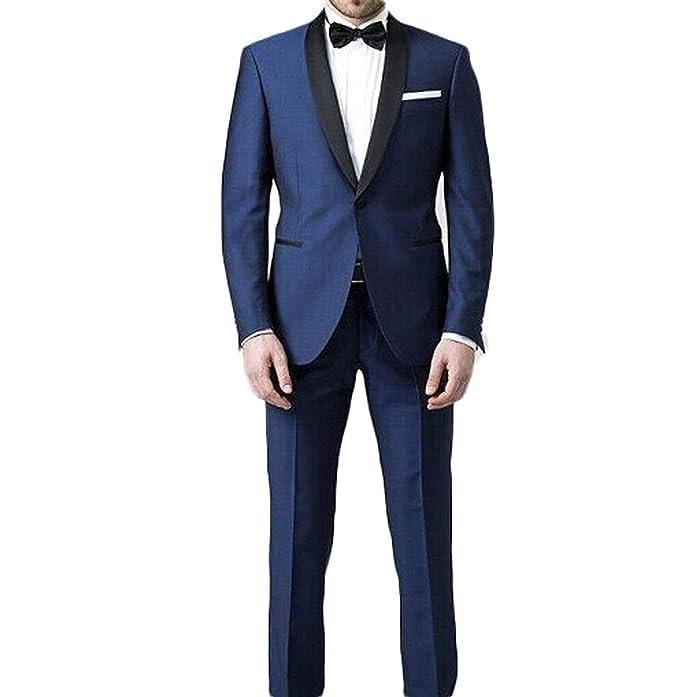Portsvy 2 Piezas Azul Marino Hombres Trajes Boda Formal Business Tuxedo fde5e544ae0