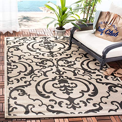 (Safavieh Courtyard Collection CY2663-3901 Sand and Black Indoor/Outdoor Area Rug, 5-Feet 3-Inch by 7-Feet 7-Inch)