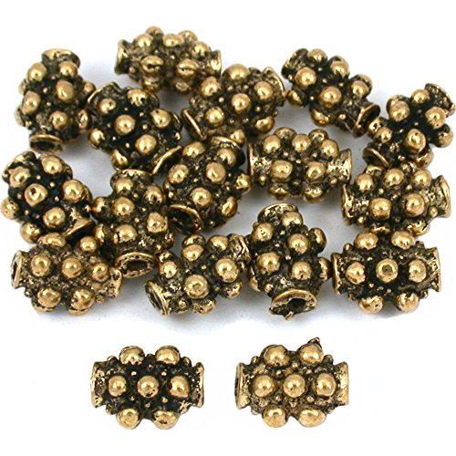 15g Dot Bali Tube Beads Antq Gold Plated 9mm Approx 15 ()