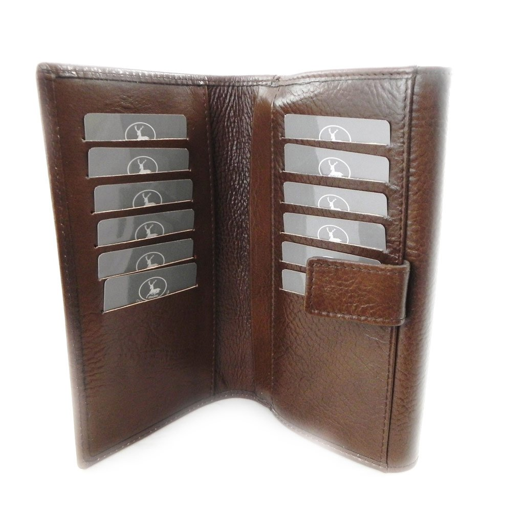 Wallet + checkbook holder leather 'Frandi' brown ecological york.