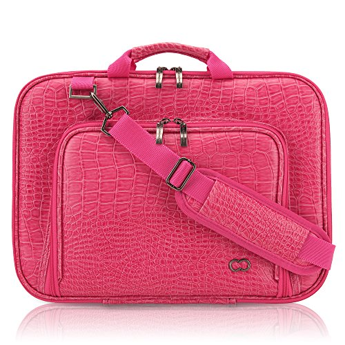 CaseCrown Alligator Messenger Laptop Case with Memory Foam for 11 Inch MacBook Air (Hot Pink)