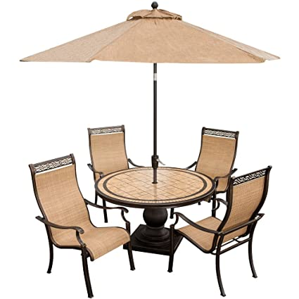 Hanover Outdoor Furniture 5 Piece Monaco High Back Sling Chair Dining Set  With Umbrella, Tan