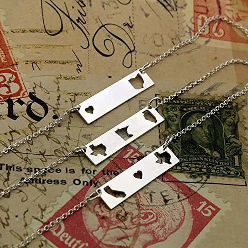 sterling silver state bar state necklace best friend gift state to state east to west hometown gift double state horizontal personalized bar - family gift - long distance relationship gifts