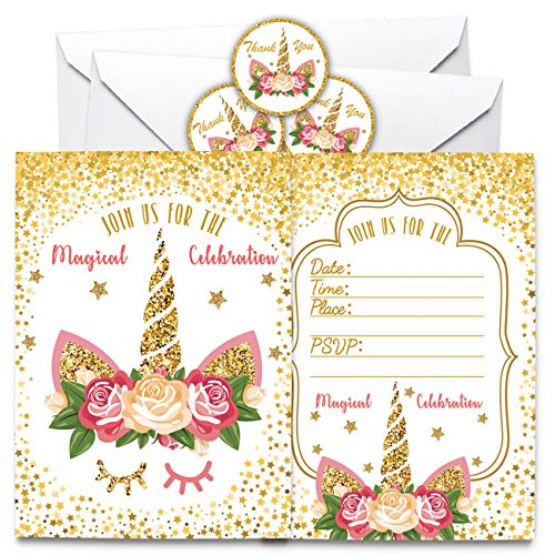 Unicorn Invitations with Envelopes and Unicorn Thank You Stickers for Magical Unicorn Party, Kids Birthday, Baby Shower Party, 72 Count.