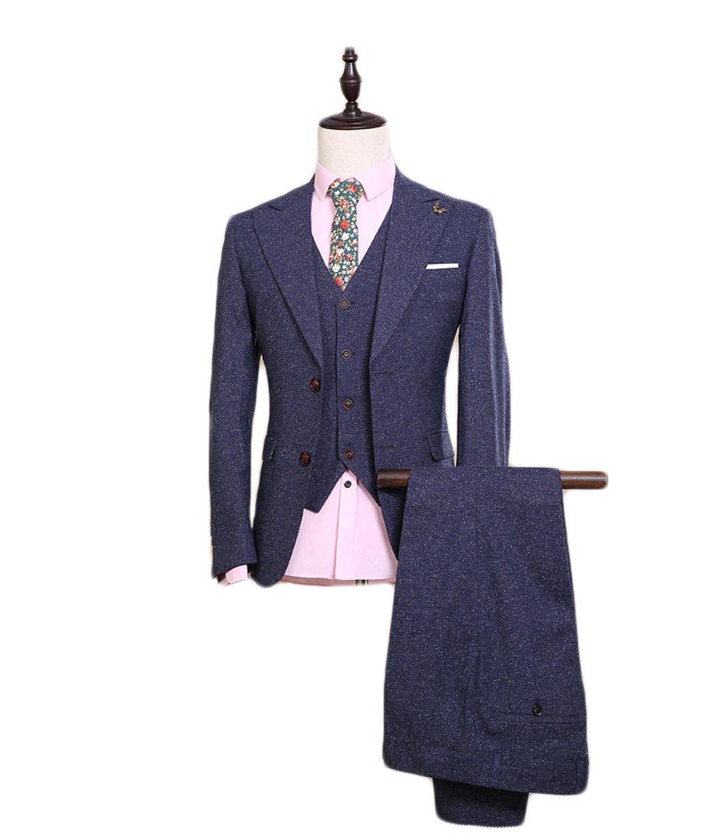 Love Dress Men's Thin Slim 2 Button Fit Suit 3-Piece Suit Jacket Pant Vest 5XL