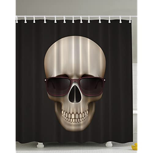 Skulls Decorations Skull With Sunglasses Digital Print Fabric Urban Man Cave Bath Decor Adventure Design Exclusive