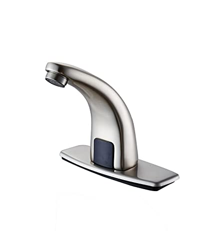Contemporary Automatic Sensor Bathroom Sink Faucet with Escutcheon Plate -  T0101