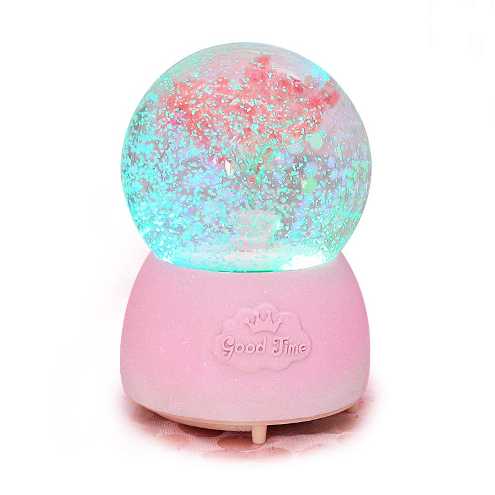 ANQIA Pink Cherry Blossom Tree of Life Musical Snow Globe 100mm Resin Water Globe with Color Changed Led Light