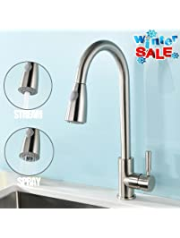 VAPSINT Modern Stainless Steel Single Handle Single Hole Pull Out Spray Kitchen  Faucet, Brushed Nickel