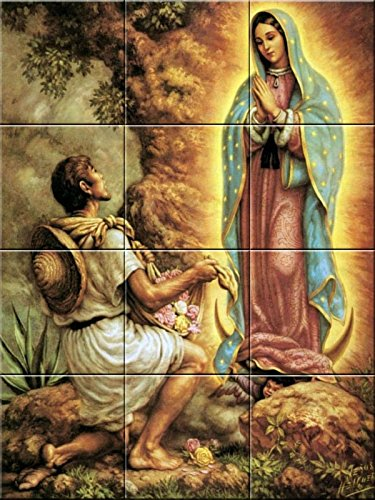 Ceramic tile mural 12.75 X 17 inches reproduction painting Virgin of Guadalupe #3