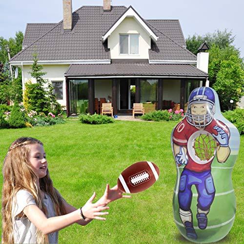 Fun Sports Football Baseball Toss Games for Indoor, Outdoor, Backyard & Party Favor Inflatable Baseball & Football Target Set   Includes 5 Foot Tall Taret ,a Soft Mini Football Baseball and Bat