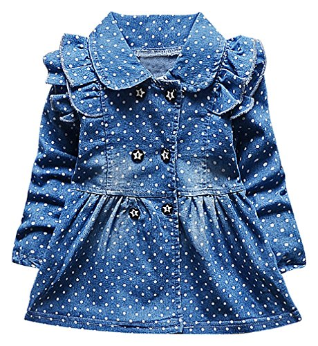 BPrincess Baby Girls Blue Contrast Dots Ruffle Detail Double Breasted Denim Coat, Blue 9M