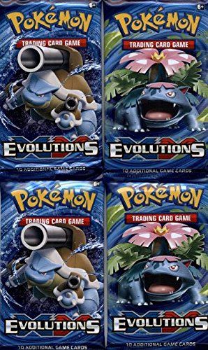 10 Card Booster Pack (4 (Four) Packs - Pokemon XY Evolutions Booster Packs (10 Cards per Pack))