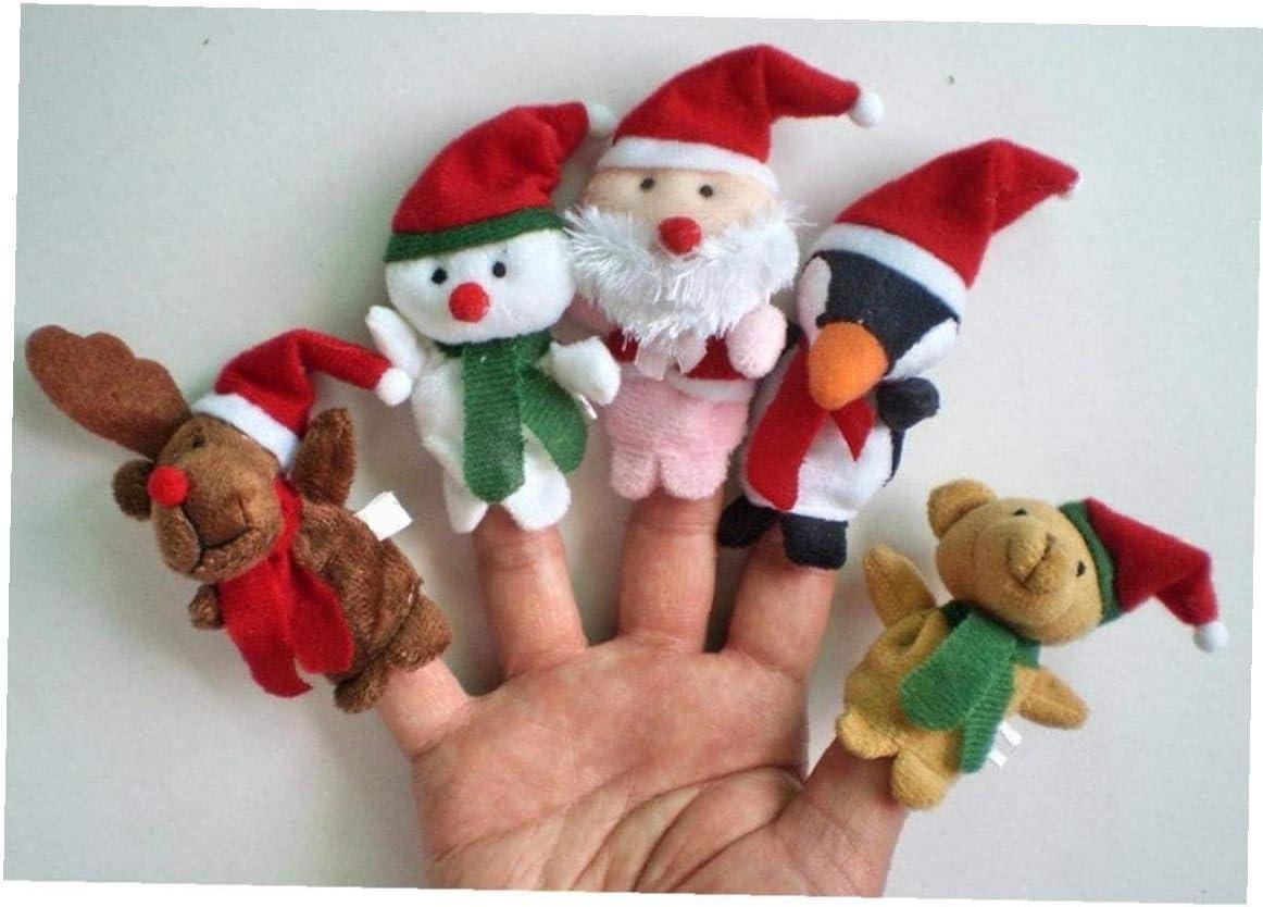 Rentier, Schneemann, Weihnachtsmann, Pinguin und Teddyb/ären TOPofly 5Pcs Christmas Theme Charakter Fingerpuppen Story Telling weiche Tuch-Tierpuppe Hand Spielzeug Pl/üschtier f/ür Baby-Kind-Kinder