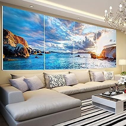 Amazon.com: Paintsh Living Room Decoration Painting Modern Seascape ...