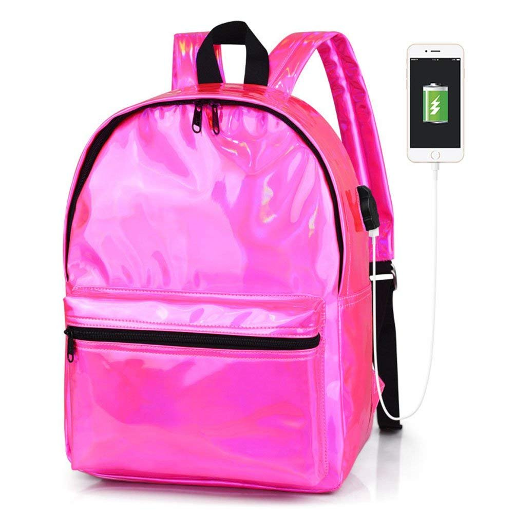 Oops Style Women Hologram Laser PU Leather Pink School Backpack