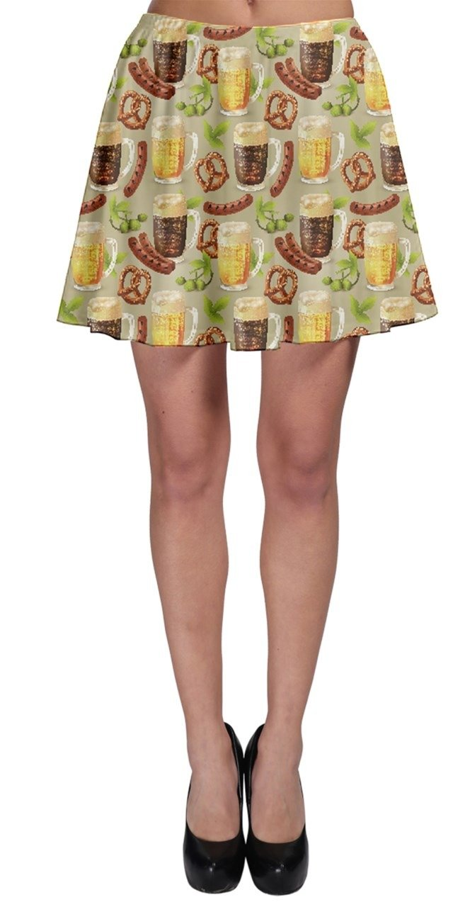 CowCow Womens Colorful Glass Mugs Lager Dark Beer Hop Pretzel Sausage Pattern Skater Skirt, Yellow - 3XL