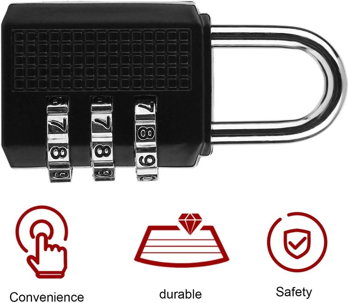 Mini-serrure anti-vol en alliage de zinc de s/écurit/é 3 combinaison multifonctionnelle code de verrouillage valise de voyage bagages penderie cadenas