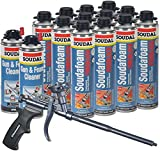 Soudal PRO Fireblock Foam Sealant 24 oz can (Sealed Case of 12), Teflon Coated Professional Foam Gun, 2 cans Gun & Foam Cleaner