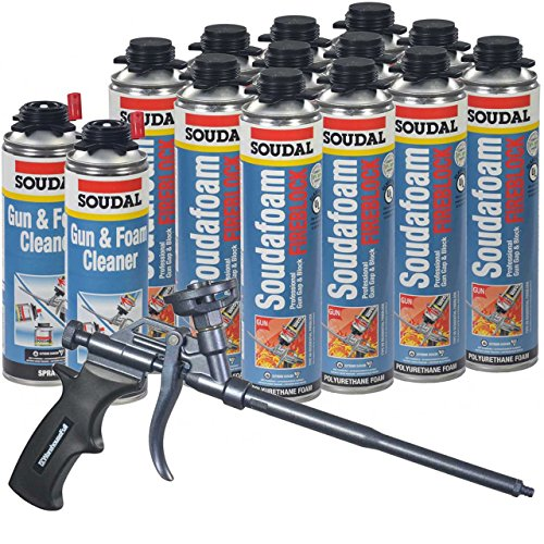 Fireblock Foam - Soudal PRO Fireblock Foam Sealant 24 oz can (Sealed Case of 12), Teflon Coated Professional Foam Gun, 2 cans Gun & Foam Cleaner