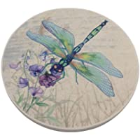 Trinsi Absorbent Ceramic Stone Coasters, Dragonfly,Set of 4 Stone Coasters