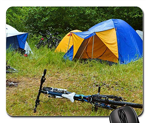 Mouse Pad - Bike Camping Rain Tent Camp Forest Nature