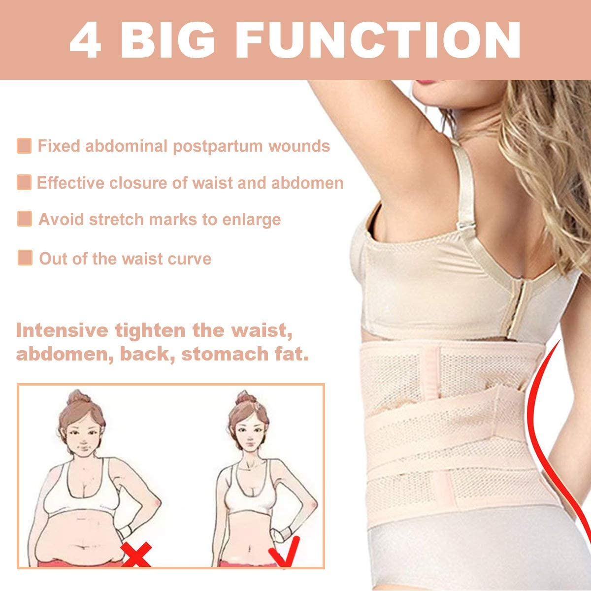 Waist Trainer Belts HIDARLING Postpartum Support Recovery Belly Belt Body Shaper Corset Belt with High Elastic for Women and Maternity Recovering from Birth