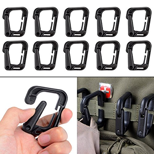 Locking Hanging Hook Tactical Link Snap Keychain with Zippered Pouch for Molle Webbing by BOOSTEADY (Carabiner Clip Attachment)