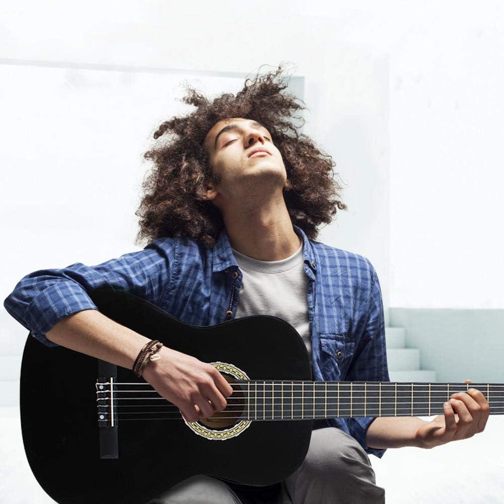 Guitarra clásica, guitarra acústica de madera natural para principiantes, 39 pulgadas, color negro