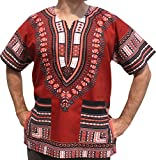 RaanPahMuang Unisex African Bright Dashiki Cotton Shirt Variety Colors, Medium, Brick Red