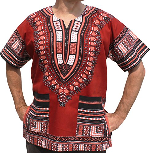 African Bright Dashiki Cotton Shirt Variety Colors, XX-Large, Brick Red (Cotton Dashiki)