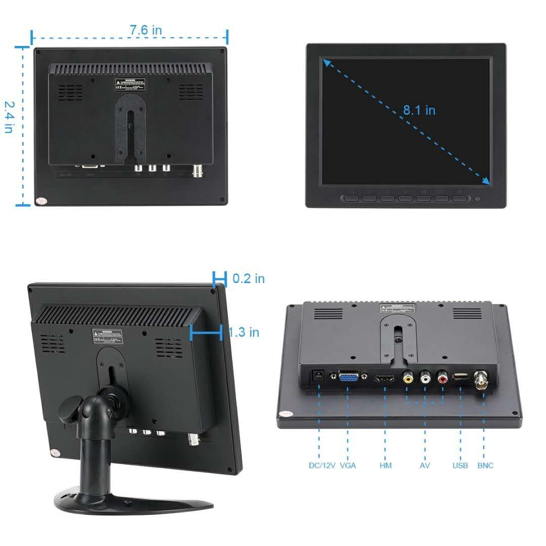 LSLYA 8 inch TFT LED Monitor 1024x768 Resolution Display Portable 4:3 IPS HD Color Video Screen Support USB AV BNC HDMI VGA BNC Input for PC CCTV Raspberry Pi (8'' LED 1024x768 160°) by LSLYA (Image #6)