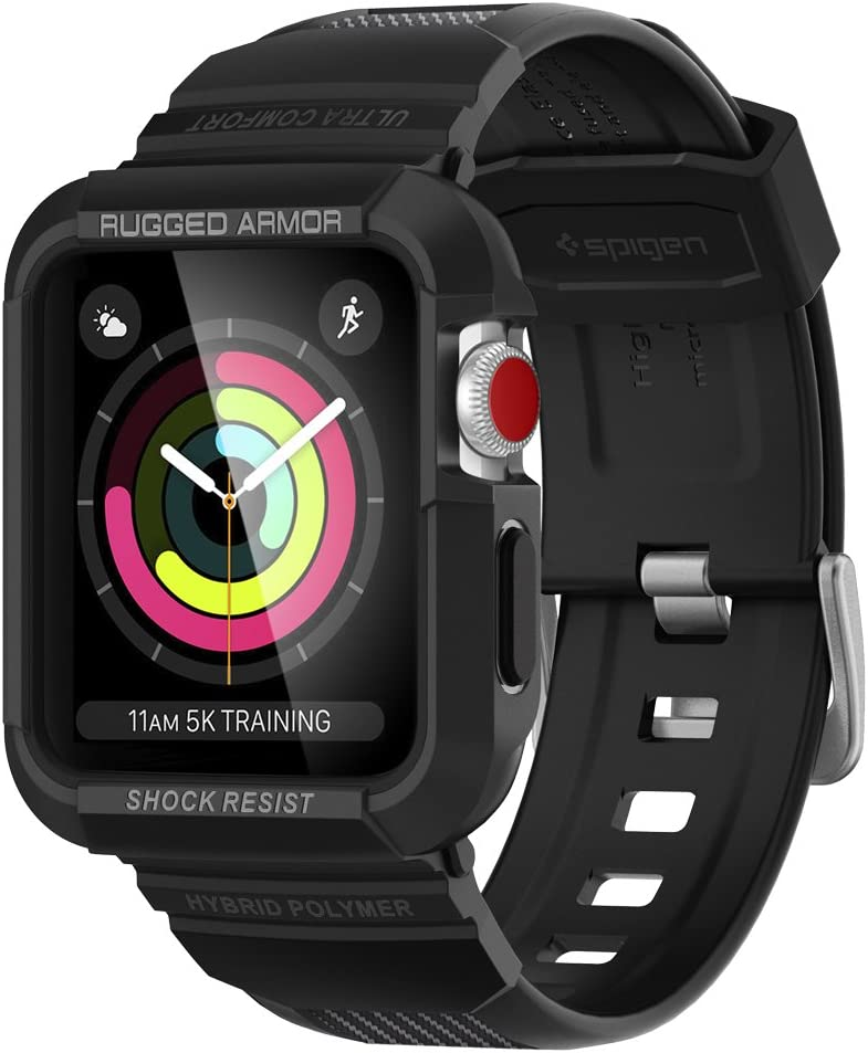 Spigen Rugged Armor Pro Designed for Apple Watch Case for 38mm Series 3/2/1/Original (2015) - Black