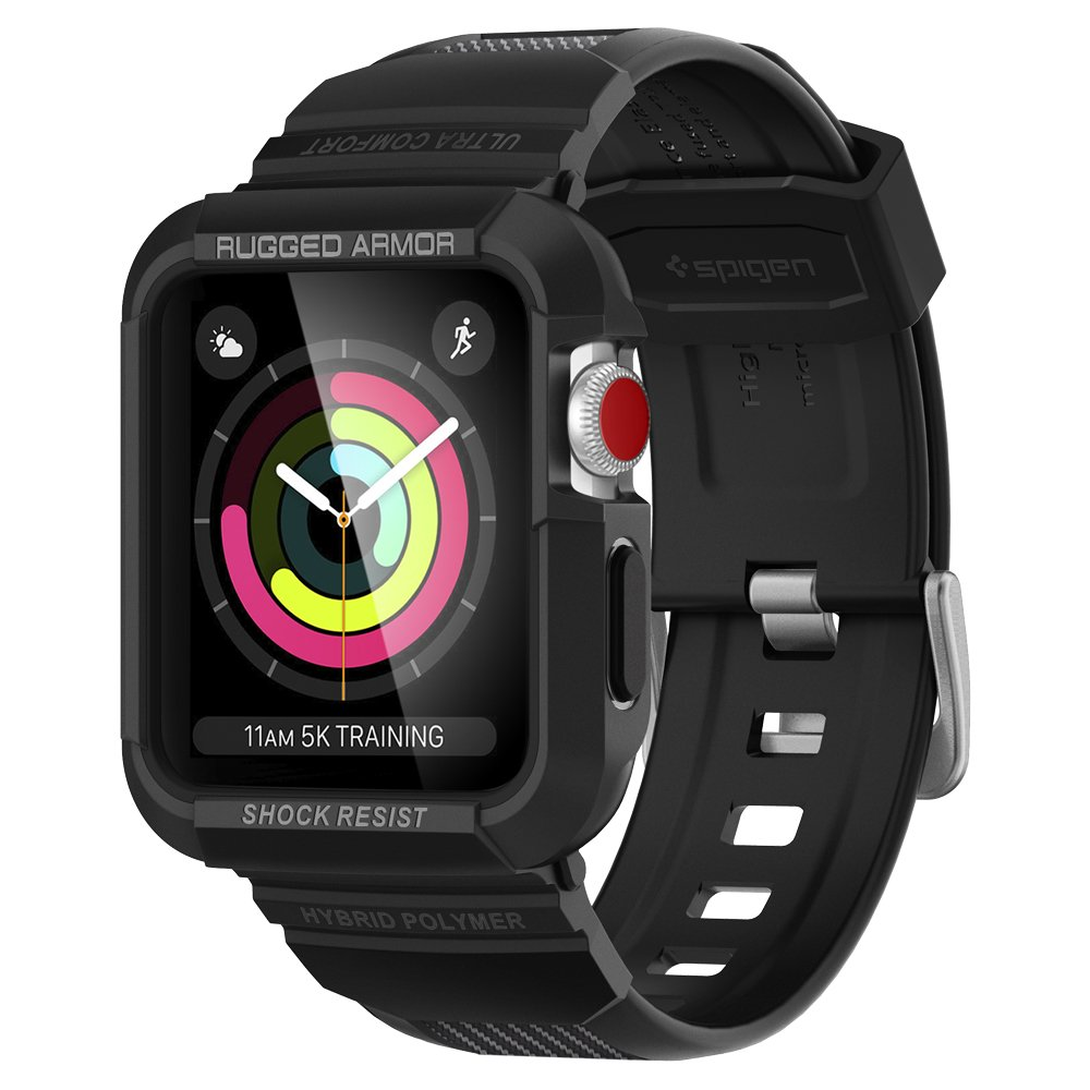 Spigen Rugged Armor Pro Apple Watch Band with Case for 42mm Apple Watch Series 3/Series 2/1/Original (2015) - Black
