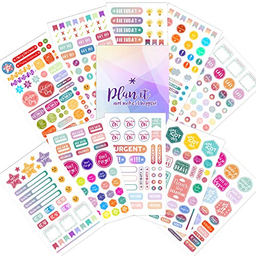 Planner Stickers - 20 Sheets of Decorative, Inspirational, Holiday & Productivity Stickers & Supplies  Adhesive Journal Stickers and Accessories for Daily, Weekly & Monthly Calendar