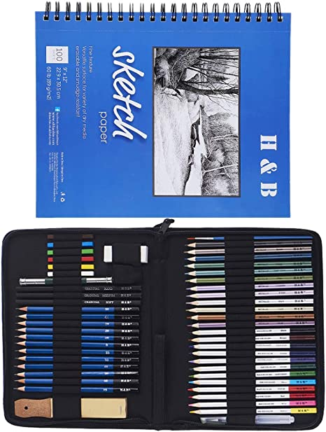 Pastels and Zippered Carry Case 51-Piece Kit Erasers Complete Artist Kit Includes Charcoals M-Aimee Graphite Drawing Pencils and Sketch Set With 1 Sketch Book
