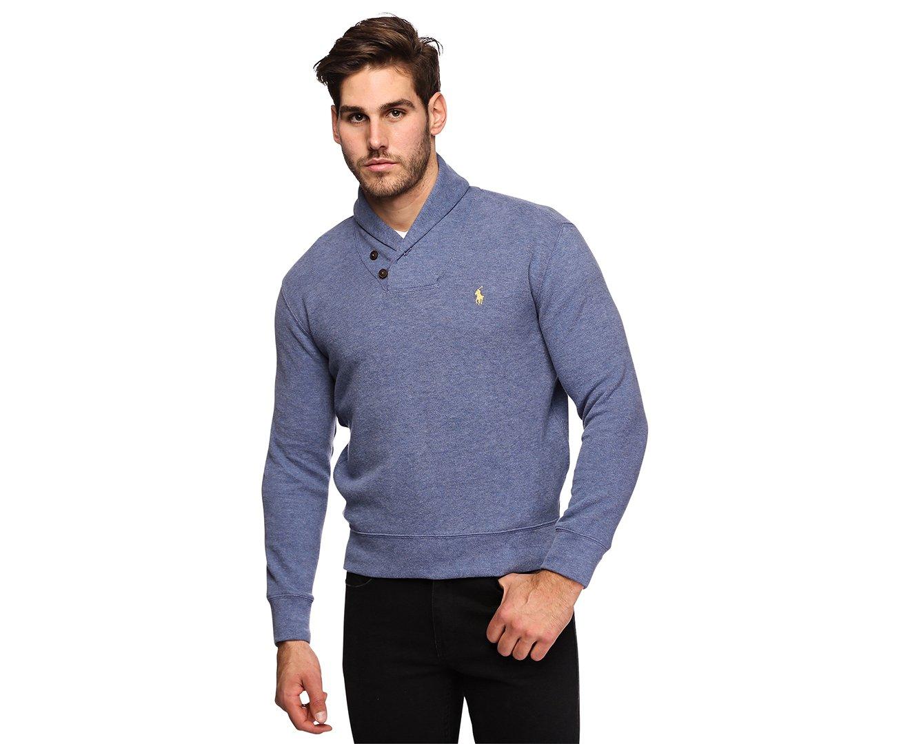 Polo Ralph Lauren Mens French Rib Shawl Neck Sweater (Small, Blue)