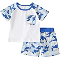 Newborn Toddler Baby Boy Summer 2Pcs Clothes Short Sleeve Cartoon Print T-Shirt Top+Shorts Pants Outfit