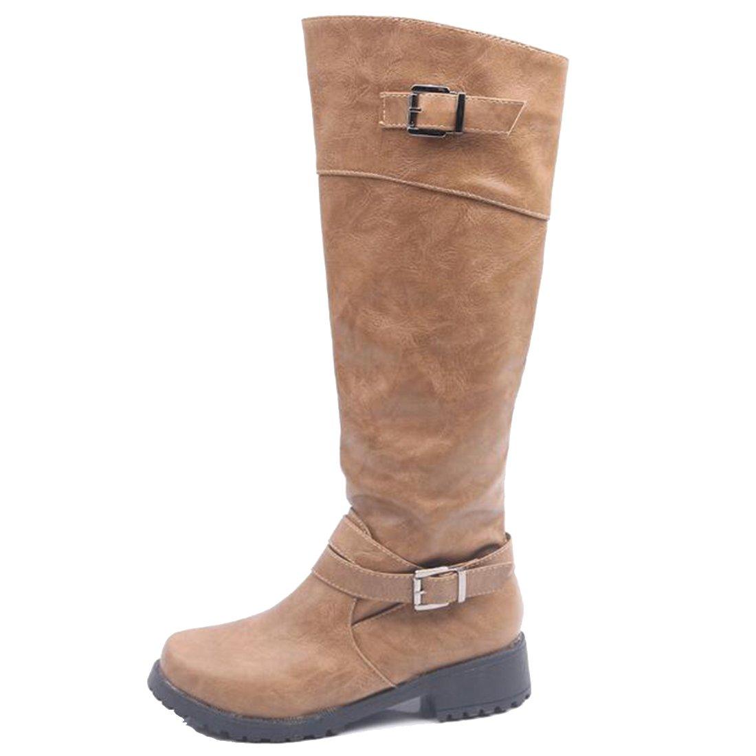 COVOYYAR Womens Double Buckle Knee High Mid Calf Riding Boots