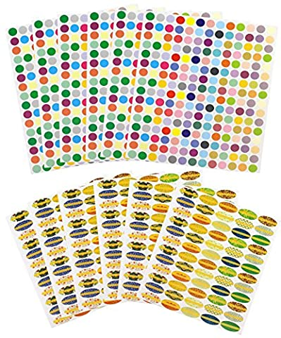 (12 Sheet Set) Essential Oil Bottle & Lid Labels; 1,608 Total Water & Oil Resistant Stickers for Organizing Aromatherapy Supplies, Nasal Inhalers, Cosmetics Jars and Roller Ball Bottles (Essential Oil Stickers)