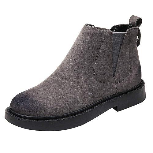 ALIKEEY Zapatos De Punta Redonda para Mujer Botines Planos Zapatos De Color Sólido De Ante Slip Botas Marron Palo Fucsia Bebe NiñO Burdeos Rojas Tela: ...