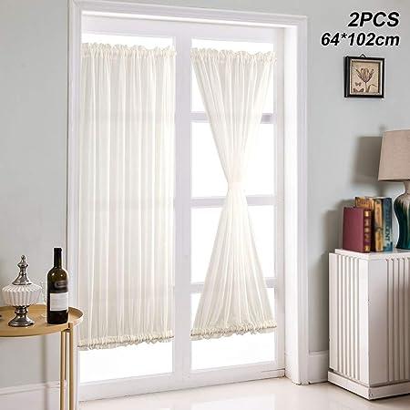 ZAK168 Cortina de puerta opaca, puerta corredera, cortinas aisladas super suave estilo francés deslizante, cortinas sólidas extra anchas para puerta corredera de cristal, 2 paneles, Blanco, 64*102cm: Amazon.es: Hogar