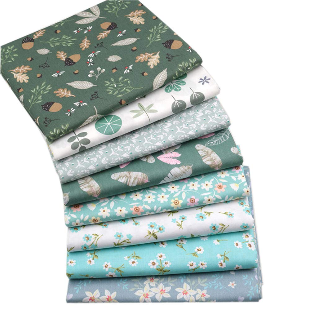 8 Pcs Different Pattern 100% Cotton Fabric Fat Quarter Bundle 46 x 56cm (Approx 18 x 22) Patchwork Quilting Fabric (Green Floral A) Hanjunzhao Factory