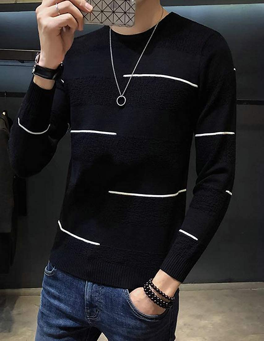 XiaoTianXinMen XTX Mens Knitted Slim Fit Long Sleeve Jumper Round-Neck Pullover Sweaters