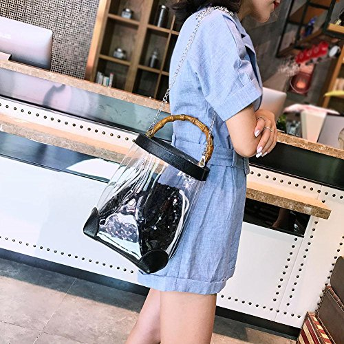 Ecotrumpuk Handbag Bucket Crossbody Shoulder Girl Chain Clear Black Women Glitter PVC Sequin rWwqrFCB