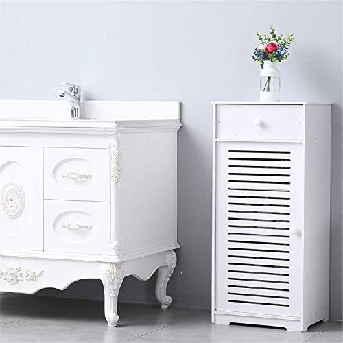 Bathroom Floor Storage Cabinet Free Standing Side Storage Organizer Unit with Drawer and Single Shutter Door White Furniture